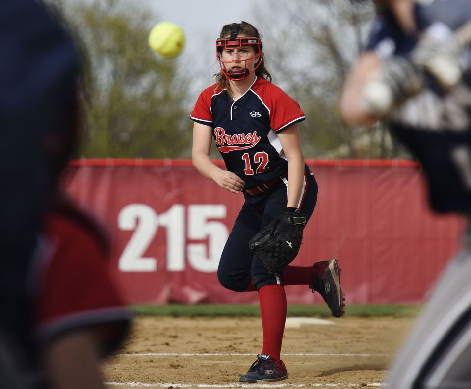 Liz Beckett pitches versus Edgewood in a game last season. (Photo by Nick Graham, Hamilton Journal-News)